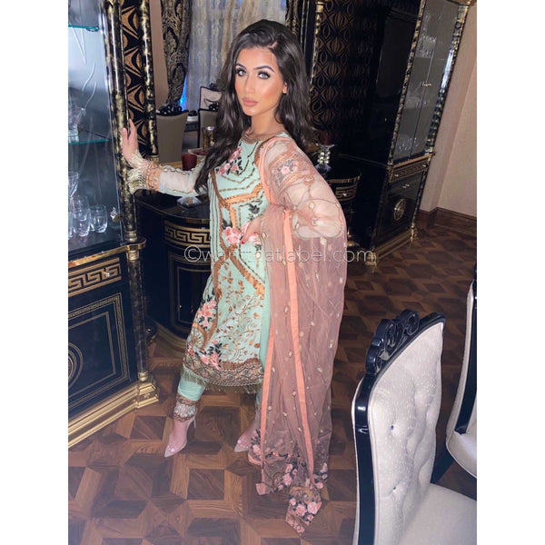 Ramsha Inspired Green Embroidered Chiffon Suit