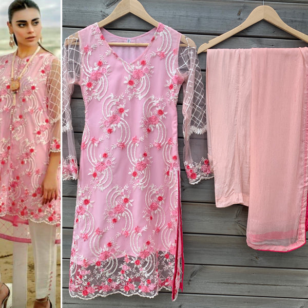 Azure Inspired Pink Embroidered 3pc Net Suit - WANT THAT LABEL