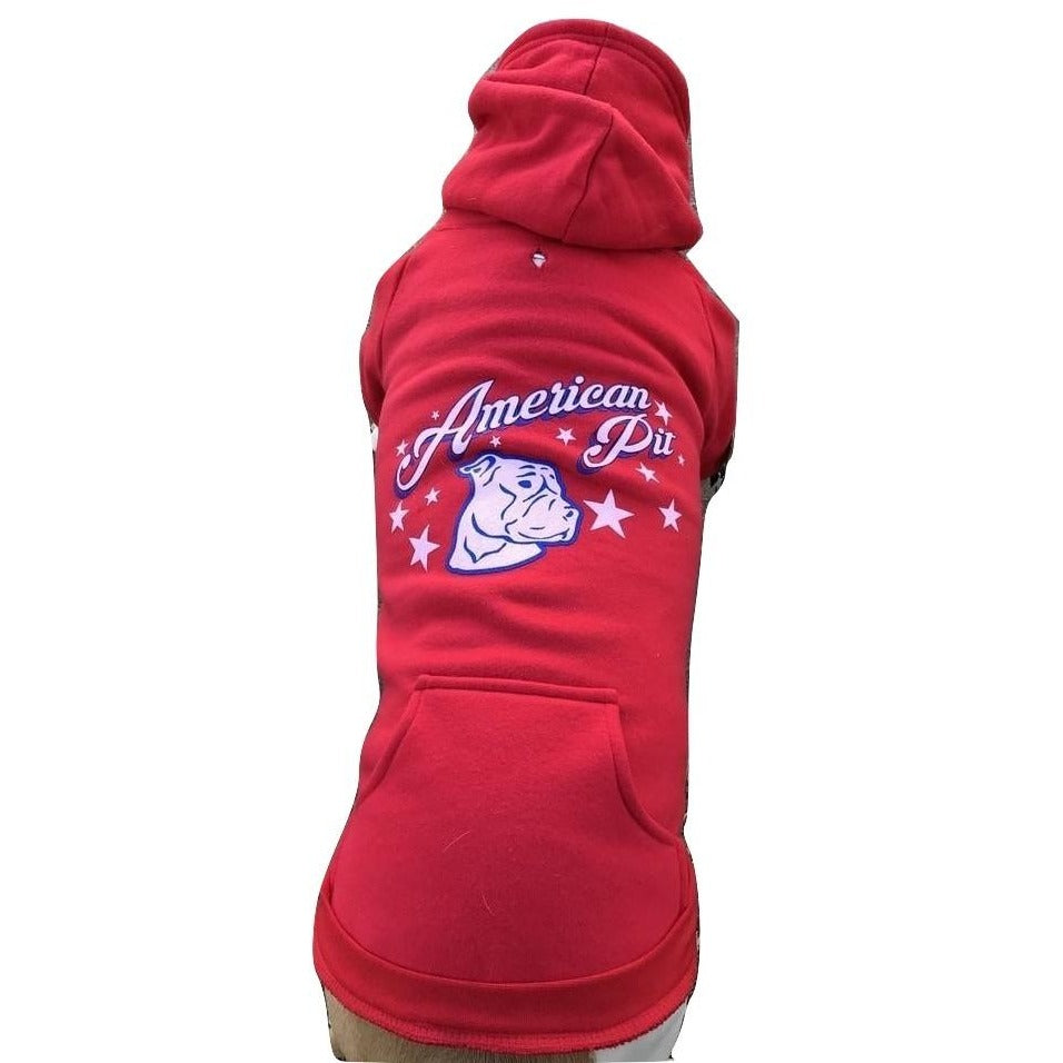 """American Pit"" Red Pitbull Dog Hoodie"