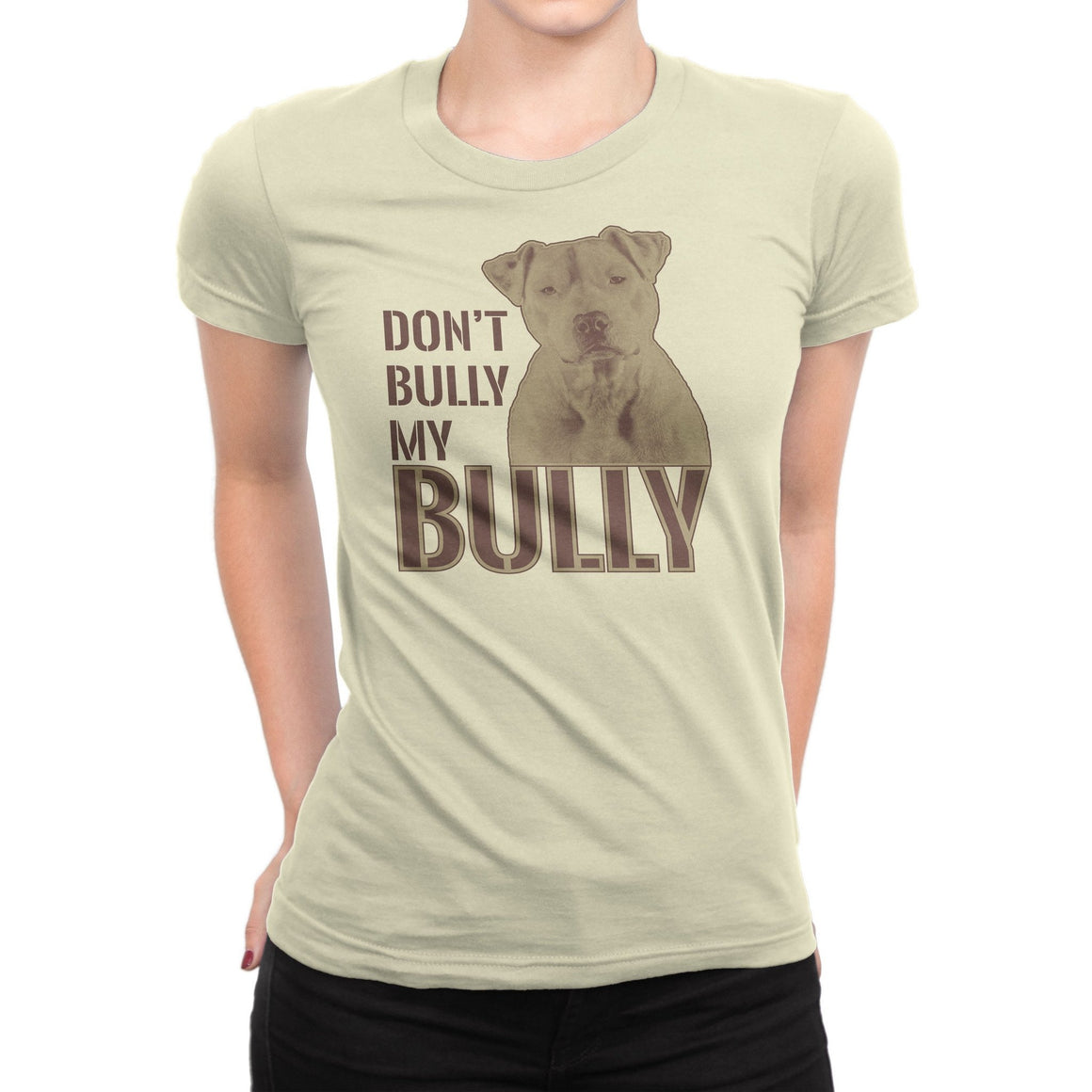 """Don't Bully My Bully"" Light Natural Women's Pitbull T-Shirt Medium + ""Life Is Better With A Pitbull"" Red Pitbull Dog Hoodie"