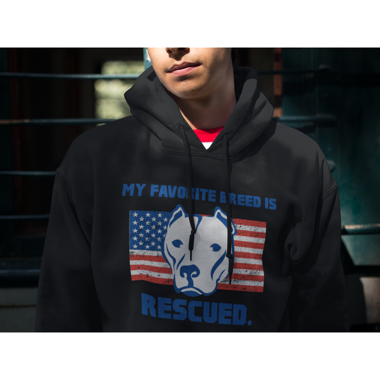 """My Favorite Breed Is Rescued"" Black Pitbull Hoodie"