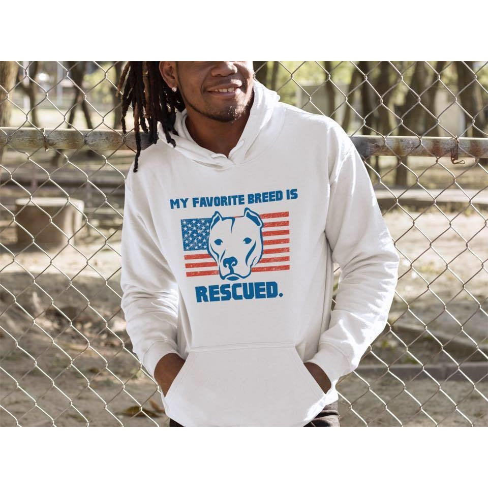 """My Favorite Breed Is Rescued"" White Pitbull Hoodie"