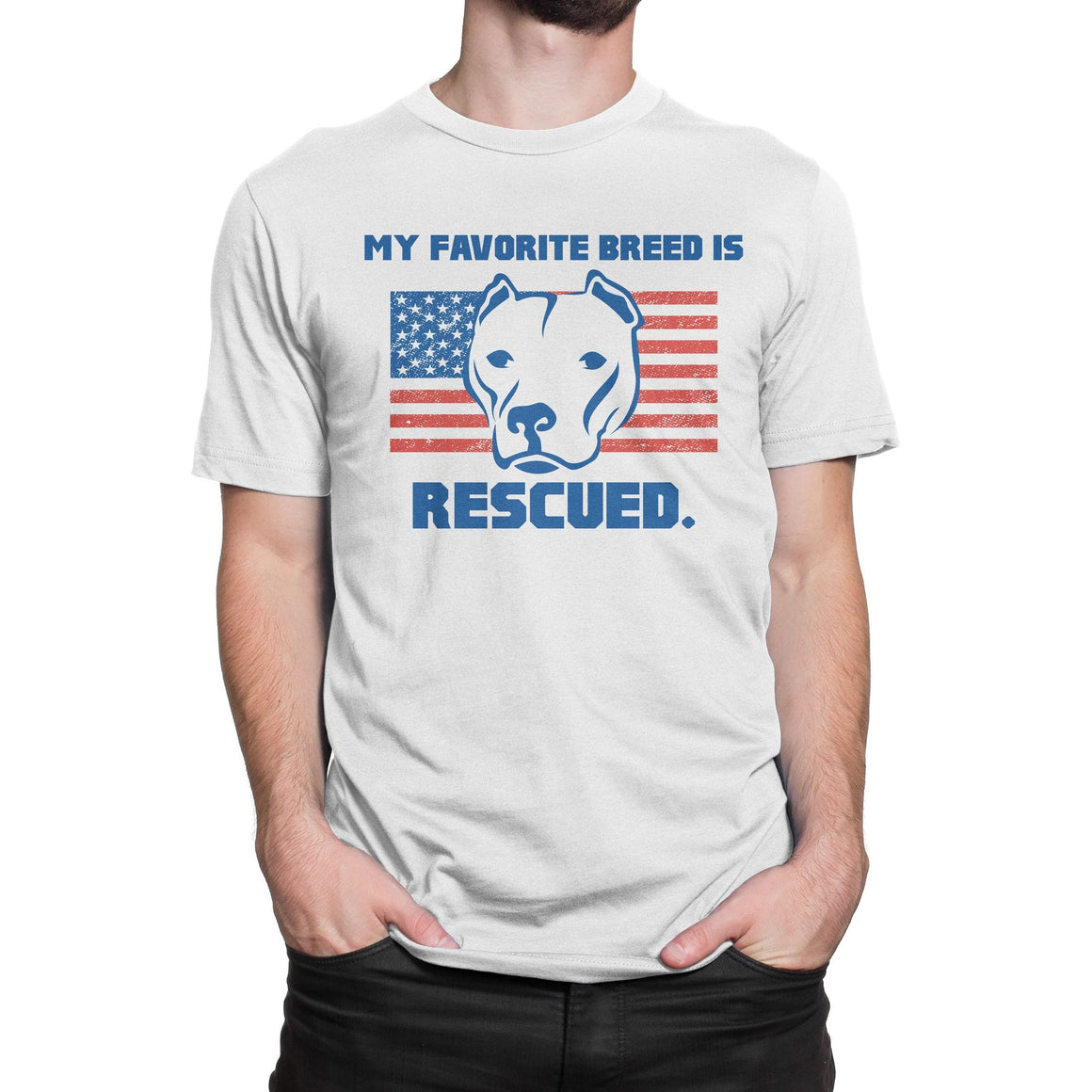 My Favorite Breed Is Rescued White Pitbull Shirt