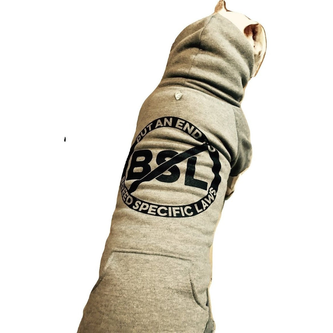 """No BSL"" Gray Pitbull Dog Hoodie"