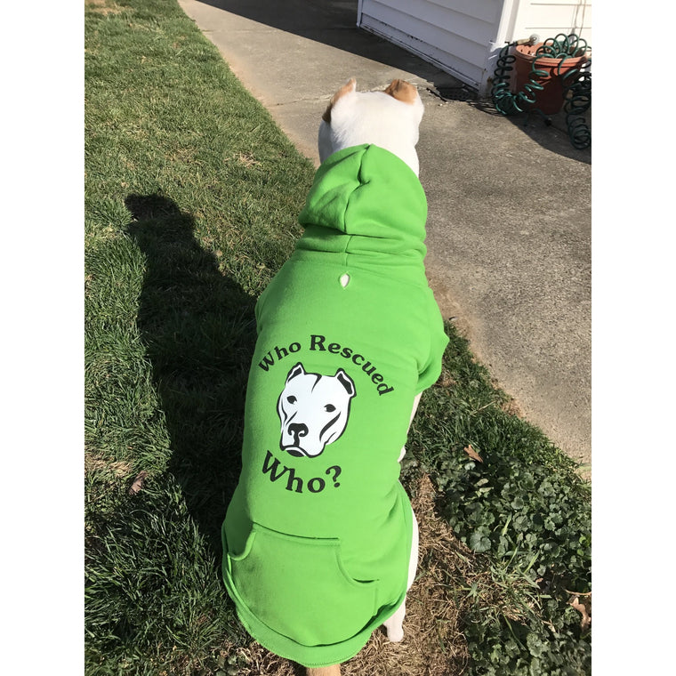 """Who Rescued Who?"" Green Pitbull Dog Hoodie"