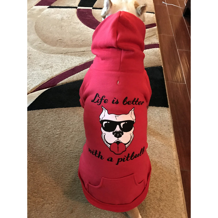 """Life Is Better With A Pitbull"" Red Pitbull Dog Hoodie"