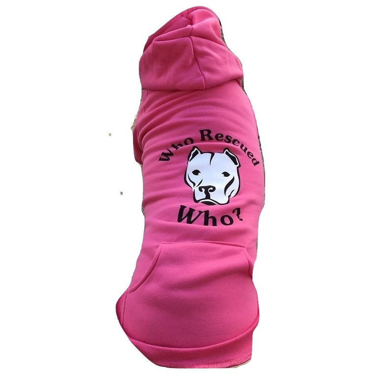 """Who Rescued Who?"" Pink Pitbull Dog Hoodie"