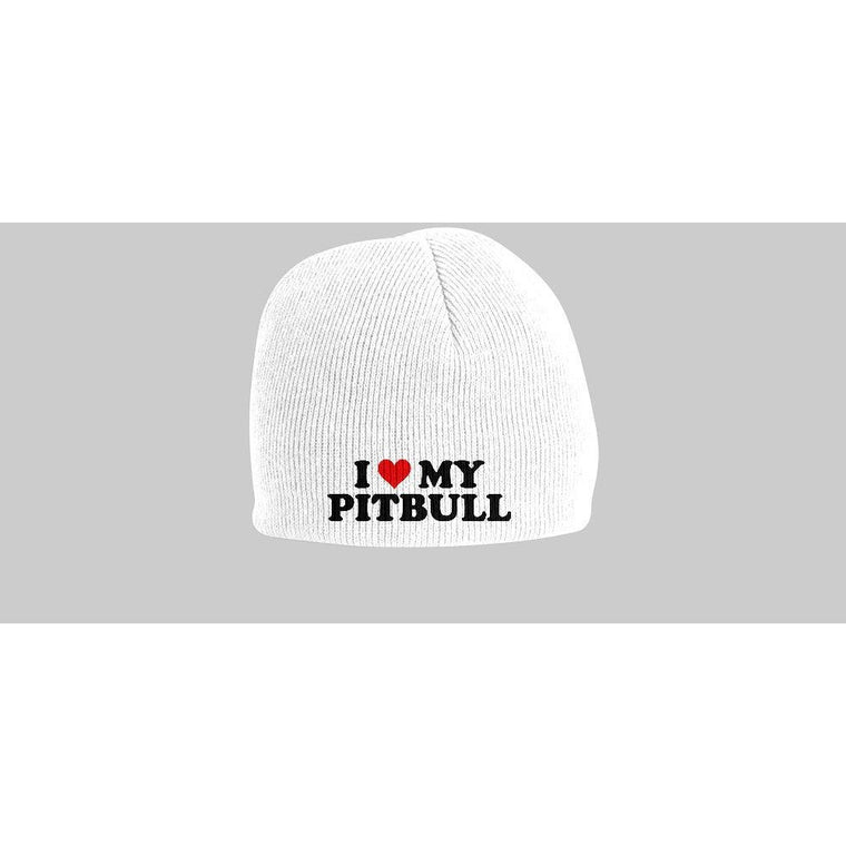 """I Heart My Pitbull"" White Pitbull Beanie  + ""American Pit"" Red Short-Sleeve Pitbull Bodysuit"