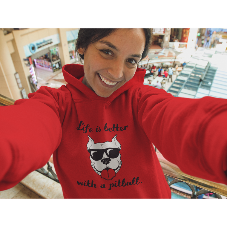 """Life is Better With A Pitbull"" Red Pitbull Hoodie"