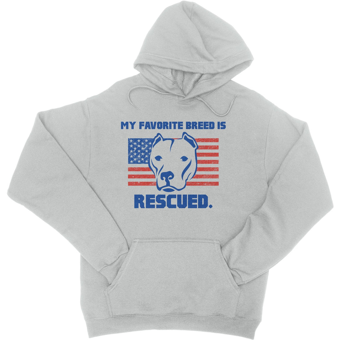 My Favorite Breed Is Rescued Ash Gray Pitbull Hoodie