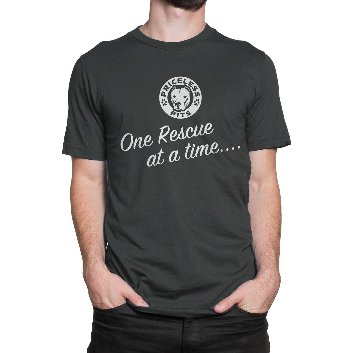 One Rescue At A Time.... Dark Gray Pitbull Shirt