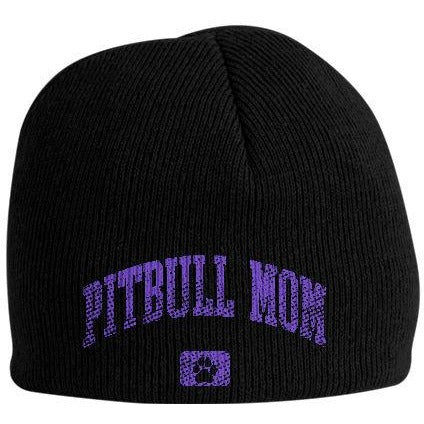 """Pitbull Mom"" Black Pitbull Beanie"