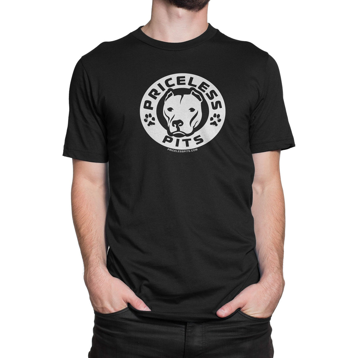 Priceless Pits Logo Black Pitbull Shirt