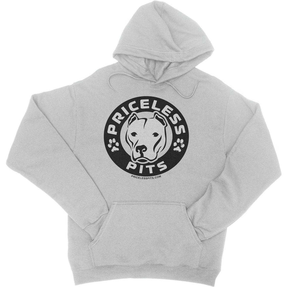 Priceless Pits Logo Ash Gray Pitbull Hoodie