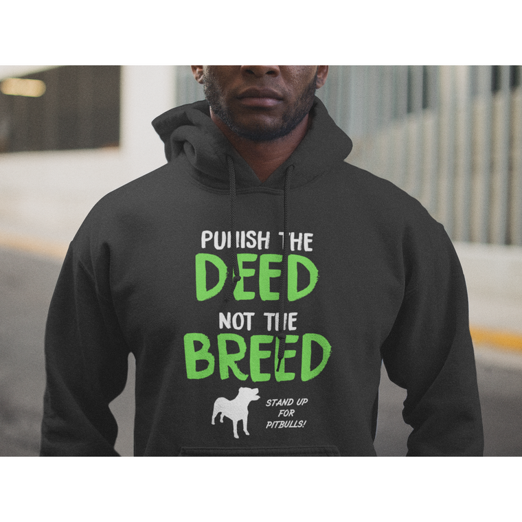 """Punish The Deed Not The Breed"" Black Pitbull Hoodie"
