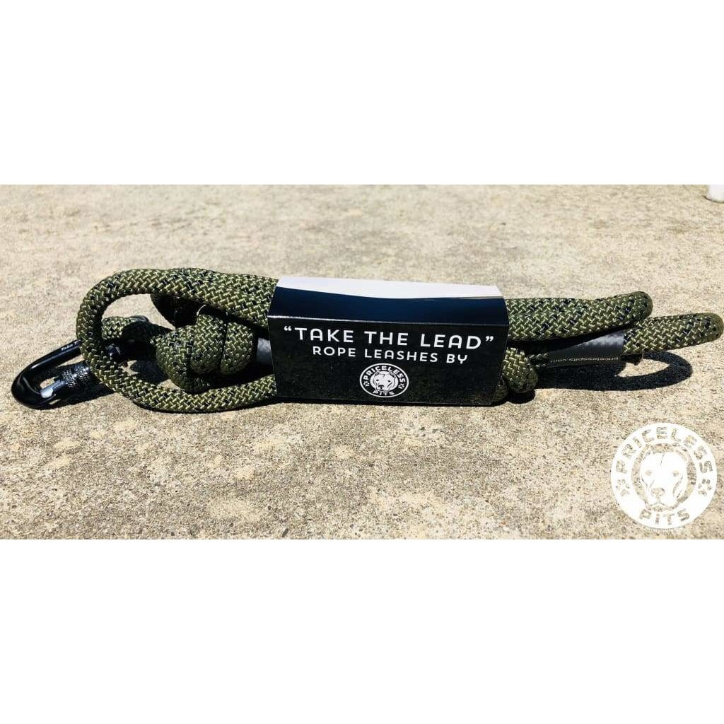 Army Green Carabiner Rope Dog Leash