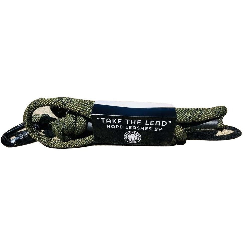 """Army Green"" Carabiner Rope Dog Leash"