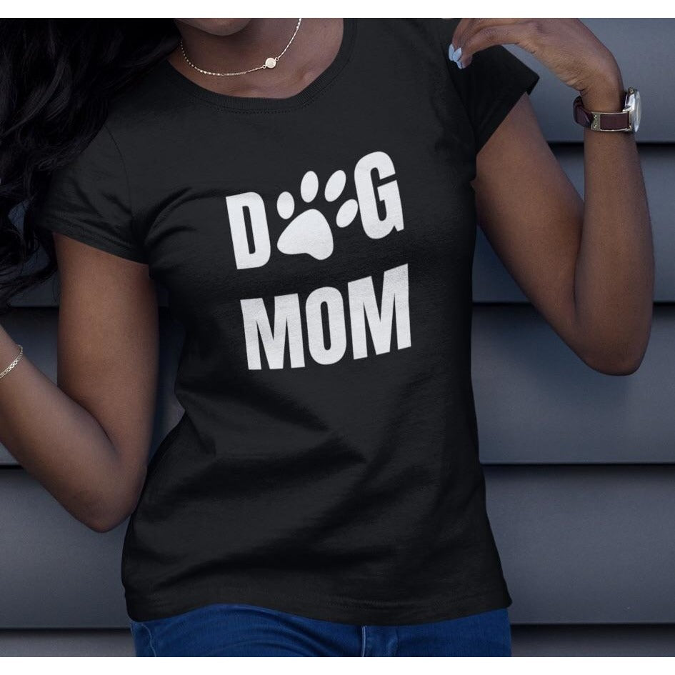 """Dog Mom Square"" Women's Black Pitbull Shirt"