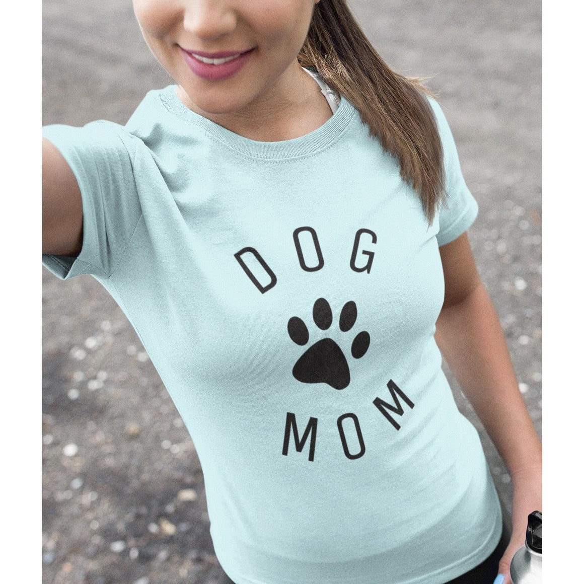 """Dog Mom"" Baby Blue Women's Pitbull Shirt"