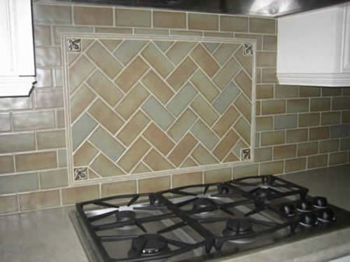 Handmade Tile Kitchen Backsplash with Honey Bees