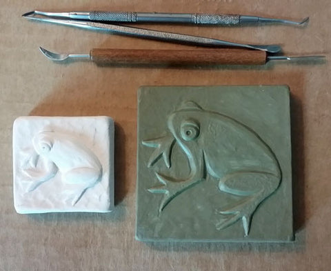 handmade frog tile in progress