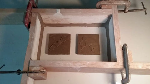 making a mold of handmade tiles