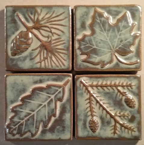 Handmade leaf tiles and pine tiles, autumn glaze four inches by four inches