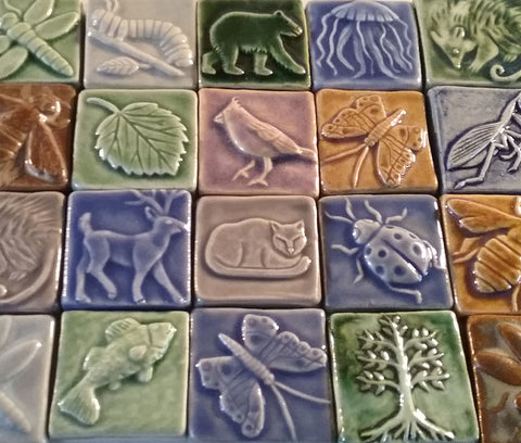 two inch by two inch handmade tiles for the riverlight gallery in peninsula ohio