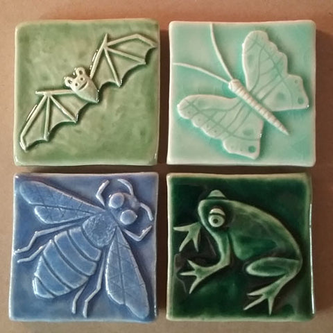 handmade three inch tiles : bat, butterfly, honey bee, frog