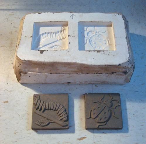 Plaster Mold for Ceramic Handmade Insect Tiles