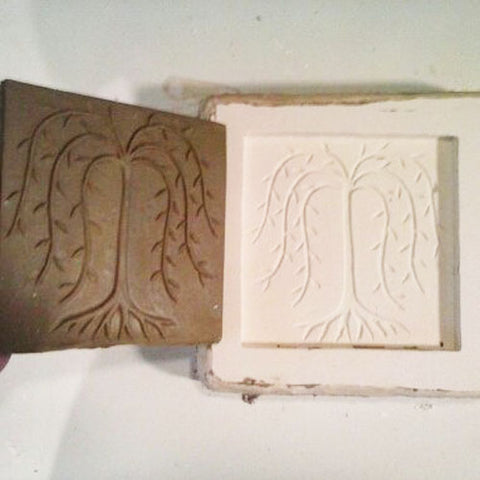 making a handmade willow tree tile