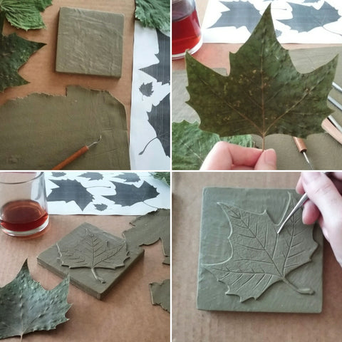 making a handmade tile with a leaf design