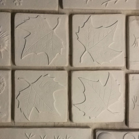 handmade sycamore leaf tiles in progress