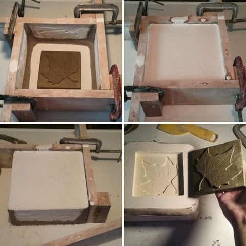 making a mold of a handmade tile with a leaf design