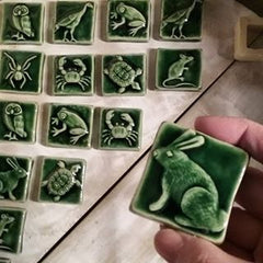 Handmade Ceramic Tiles of Animals in Green Glaze