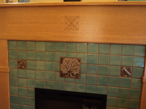 handmade tile fireplace, arts and crafts style