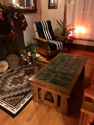 arts and crafts table with handmade tile top