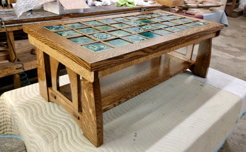 craftsmen coffee table with art tile top