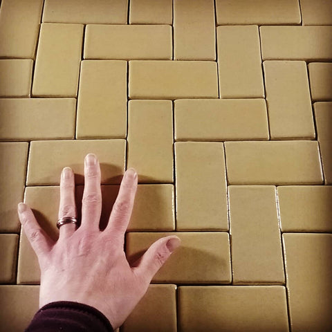 handmade field tiles, butter yellow glaze
