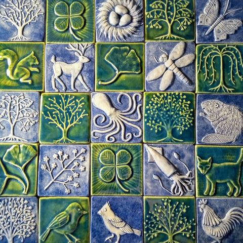 four inch by four inch handmade tiles