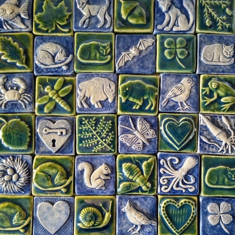 "handmade tiles in the 2""x2"" size"