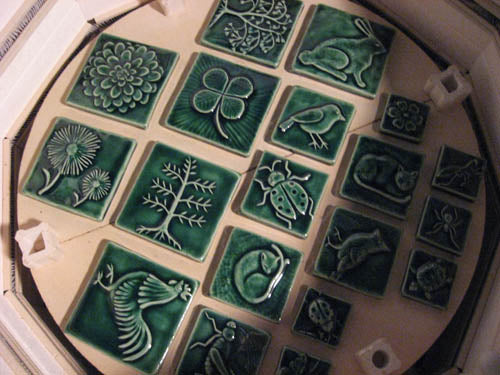 handmade tiles green glaze