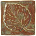 "Aspen Leaf 4""x4"" Handmade Ceramic Art Tile Autumn Glaze"