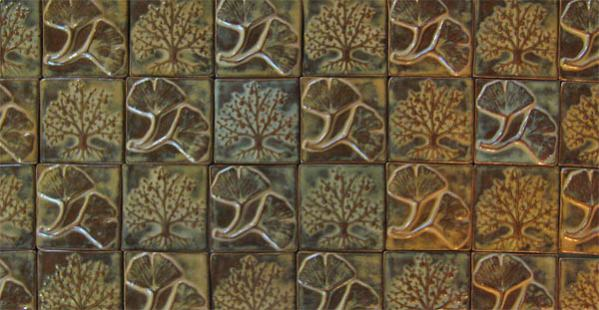 autumn leaves and tree handmade ceramic art tiles