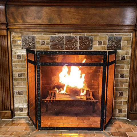 handmade tile fireplace surround historical reproduction