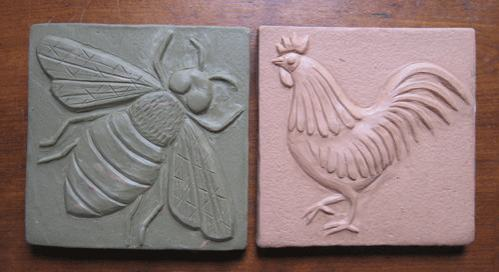 Bird and Bee Handmade Ceramic Tile Designs