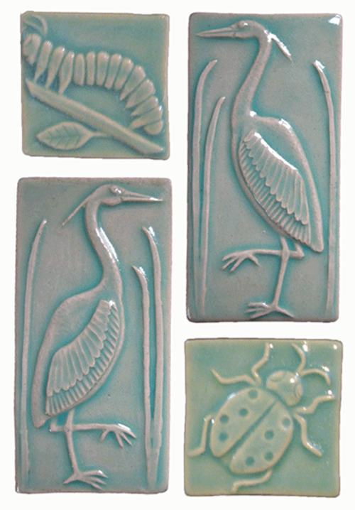 Heron Handmade Tiles and Insects