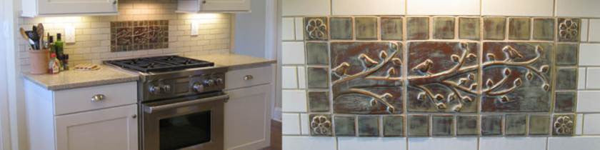 Installation in kitchen of handmade tiles.