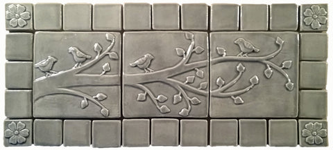 birds on a branch triptych three 6x6 ceramic handmade tiles with 2 border