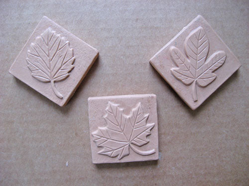 aspen fig leaf maple leaf handmade tiles in progress